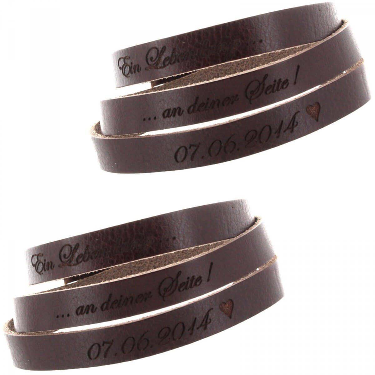 Bracelets duo cuir gravés
