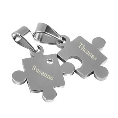 pendentif puzzle acier personnalise